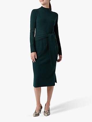 Hobbs Tilly Knitted Dress, Deep Green