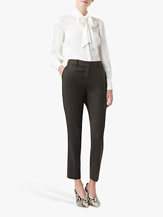 Hobbs Larna Tapered Wool Trousers, Olive