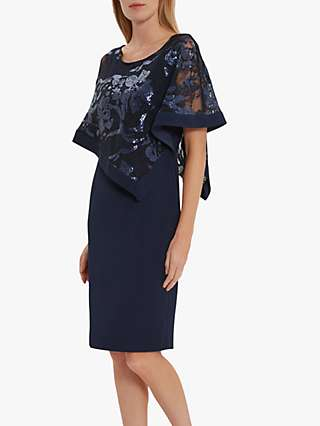 Gina Bacconi Evana Cape Dress, Spring Navy