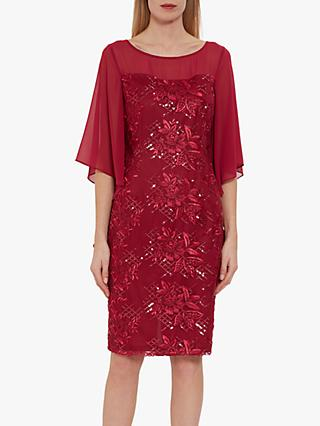 Gina Bacconi Bonita Sequin and Flower Embroidery Dress, Damson