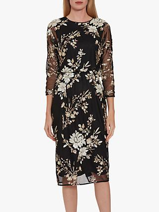 Gina Bacconi Kerra Sequin Dress, Black/Pearl