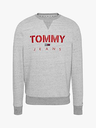 Tommy Jeans Melange Tommy Crew Sweatshirt, Light Grey Heather