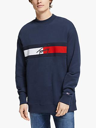 Tommy Jeans Signature Organic Cotton Logo Sweatshirt, Black Iris