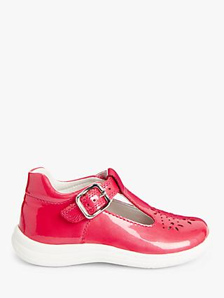 John Lewis & Partners Children's Flower T-Bar Buckle Pre-Walker Shoes, Pink