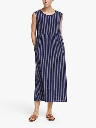 Collection WEEKEND by John Lewis Sleeveless Stripe Midi Dress, Blue/White