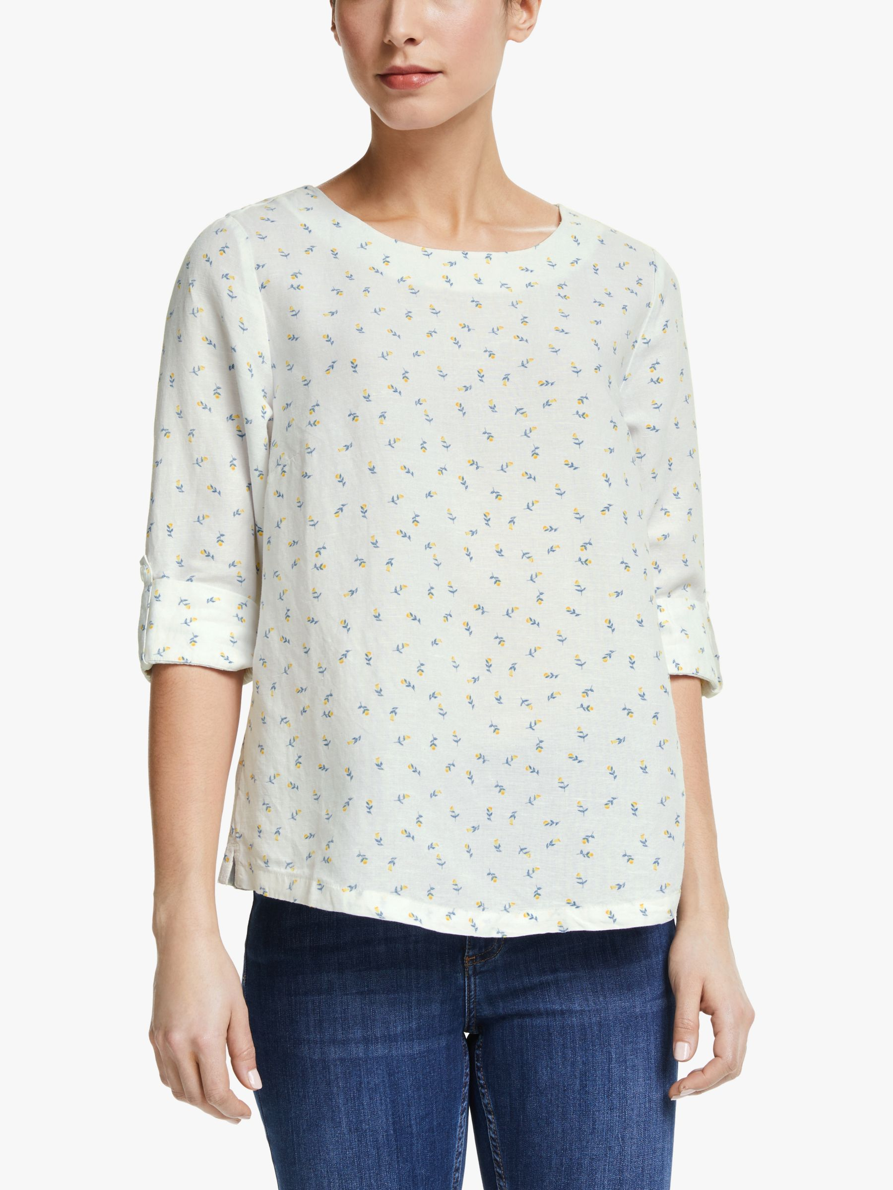 Collection WEEKEND by John Lewis Collection WEEKEND by John Lewis Emilia Linen Blend Floral Shell Top, White/Multi
