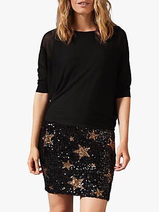 Phase Eight Geonna Star Sequin Skirt Knit Dress, Bronze