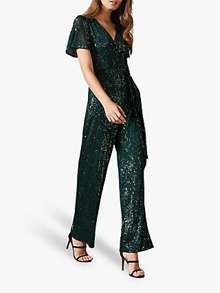 Phase Eight Alessandra Sequin Jumpsuit, Emerald
