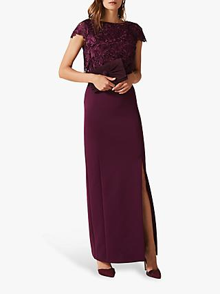 Phase Eight Olivia Lace Scuba Maxi Dress, Damson