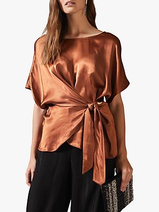 Phase Eight Warna Satin Wrap Blouse, Bronze