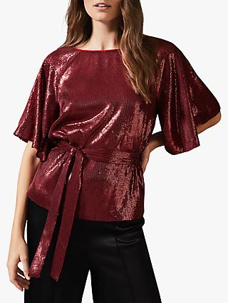 Phase Eight Kiera Sequin Top, Scarlet