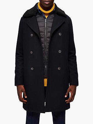 SELECTED HOMME Recycled Wool Blend Double Breasted Peacoat, Sky Captain