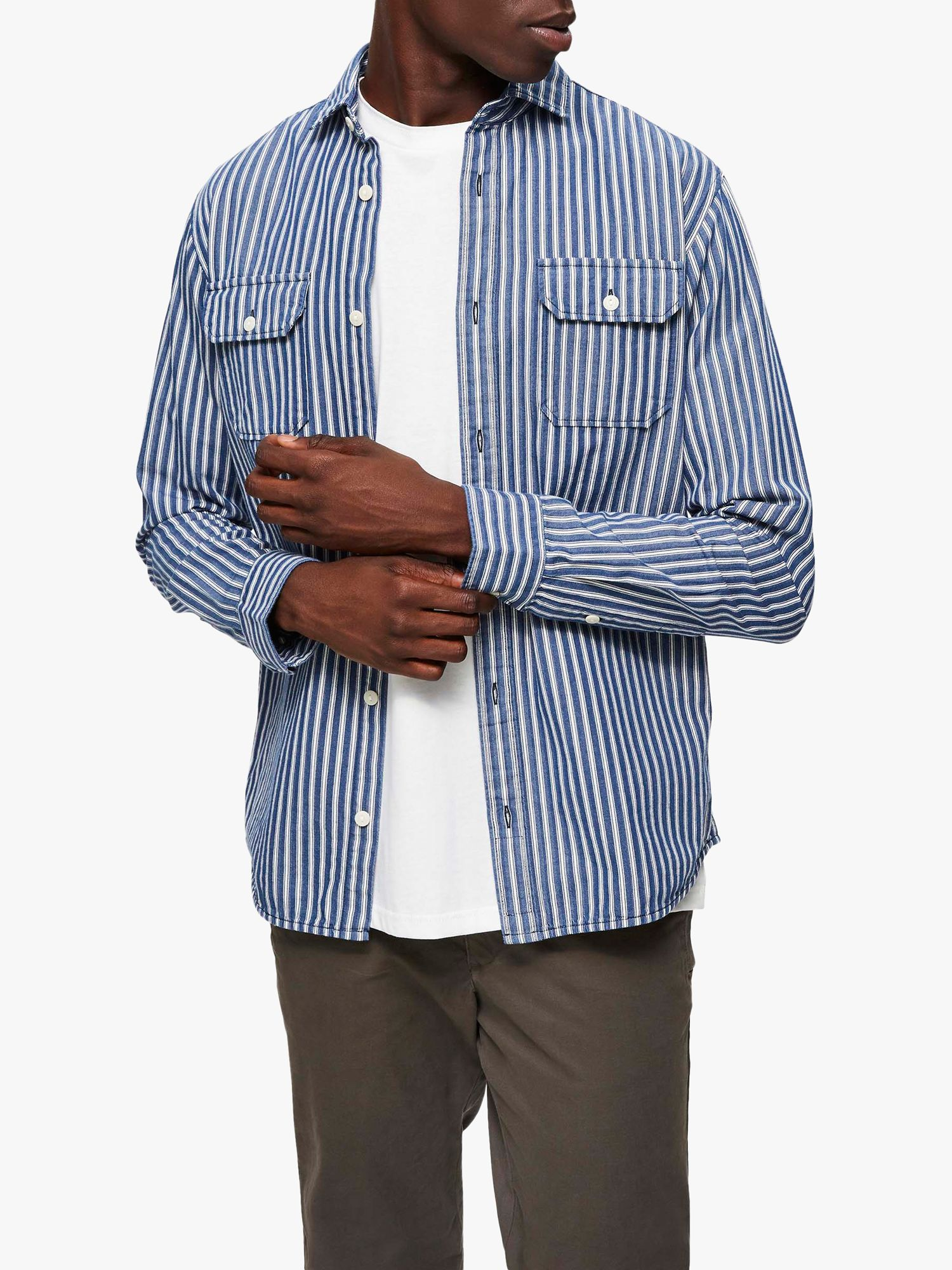 Selected Homme SELECTED HOMME Stripe Overshirt, Dark Sapphire