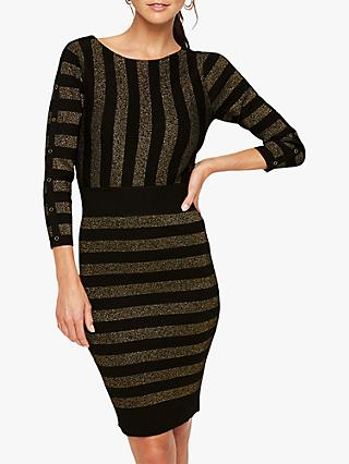 Damsel in a Dress Marga Shimmer Stripe Bodycon Dress, Black/Gold