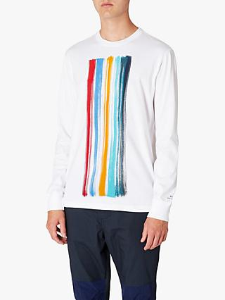 PS Paul Smith Paint Brush Graphic Long Sleeve T-Shirt, White