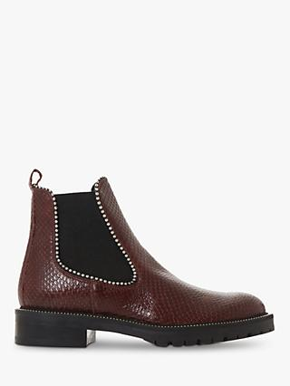 Dune Prestige Croc Patent Leather Ankle Boots, Burgundy