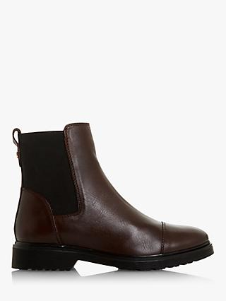 Dune Paysan Leather Cleated Chelsea Boots, Burgundy