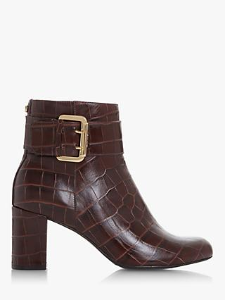 Dune Octoba Block Heel Leather Ankle Boots