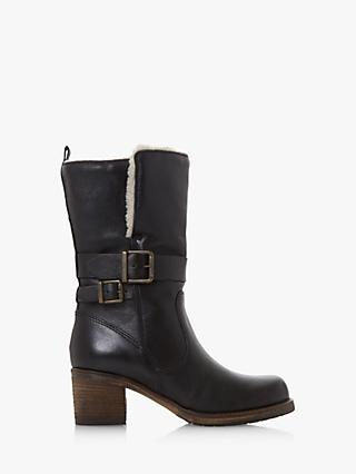 Dune Rokoko Borg Collar Leather Calf Boots