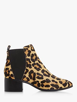 Dune Ozzi Leather Low Block Ankle Boots
