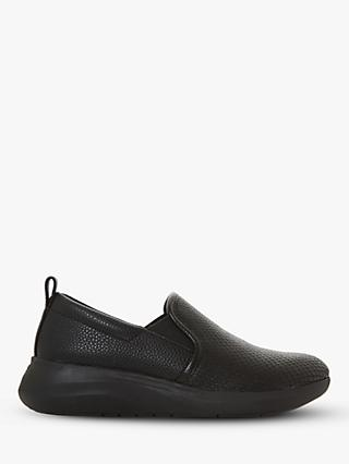 Dune Eliana Leather Slip On Trainers, Black