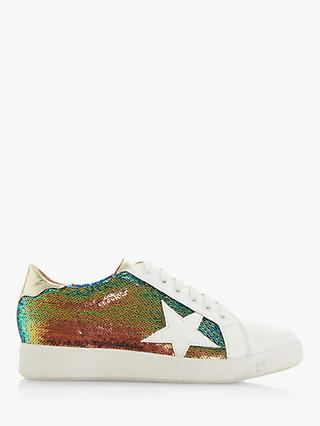 Dune Edris Glitter Lace Up Star Trainers, Multi