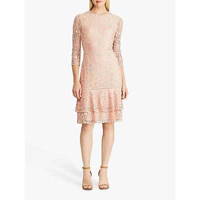 Lauren Ralph Lauren Halima Floral Lace Dress, Pink Macaron/Black