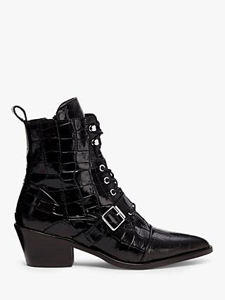 AllSaints Katy Crocodile Leather Pointed Ankle Boots, Black