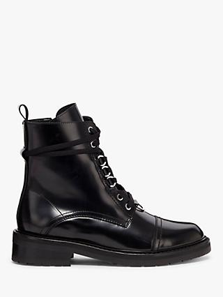 AllSaints Lira Leather Biker Boots, Black