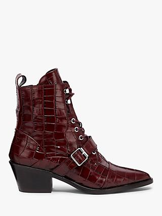 AllSaints Katy Crocodile Leather Pointed Ankle Boots, Red