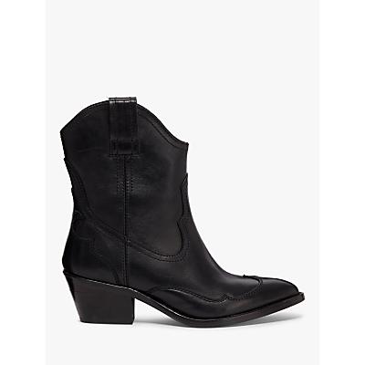 AllSaints Shira Western Leather Cowboy Boots, Black