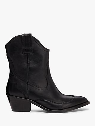 AllSaints Shira Western Leather Cowboy Boots, Black