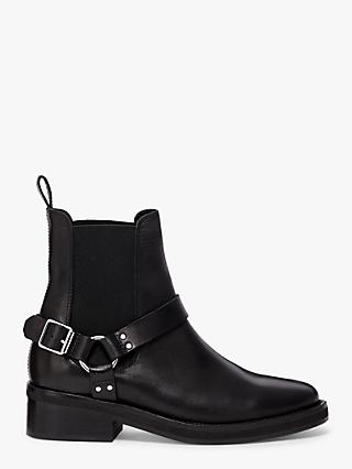 AllSaints Salome Leather Buckle Ankle Boots, Black