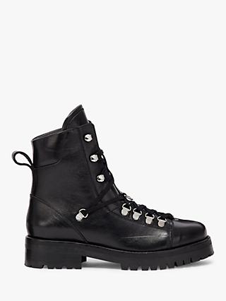 AllSaints Franka Leather Bilker Boots, Black