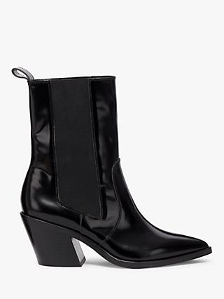 AllSaints Carolina Leather Pointed Toe Heeled Boots, Black