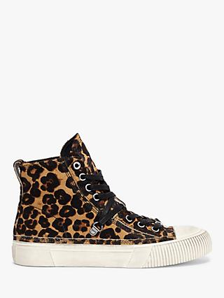 AllSaints Elena Leopard High Top Trainers, Brown