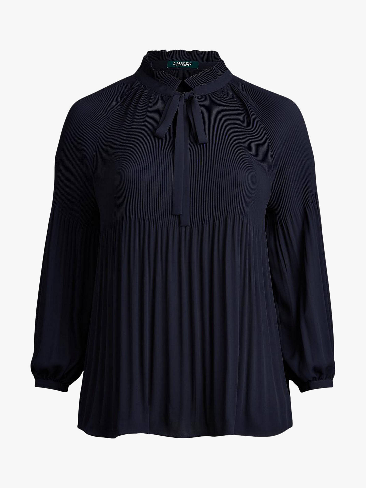 Buy Lauren Ralph Lauren Curve Duong Tie Neck Blouse, Lauren Navy, XL Online at johnlewis.com
