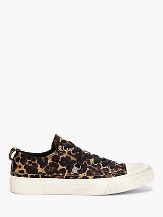 AllSaints Jazmin Leather Leopard Print Trainers, Brown