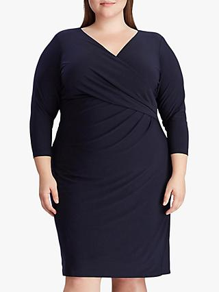 Lauren Ralph Lauren Curve Cleora Jersey Dress, Lighthouse Navy
