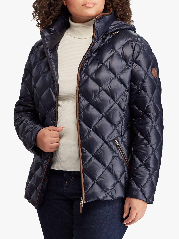 Ralph Lauren Lauren Ralph Lauren Curve Faux Leather Trim Quilted Jacket, Navy