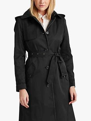 Lauren Ralph Lauren Curve Trench Coat, Black