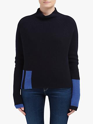 Duffy Side Block Cashmere Jumper, Jet/Garland