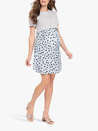Séraphine Knitted Bodice Floral Maternity and Nursing Dress, Grey