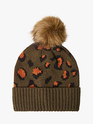 French Connection Contrast Leopard Beanie, Orca