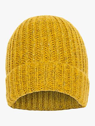 French Connection Chunky Knitted Beanie, Calluna Yellow