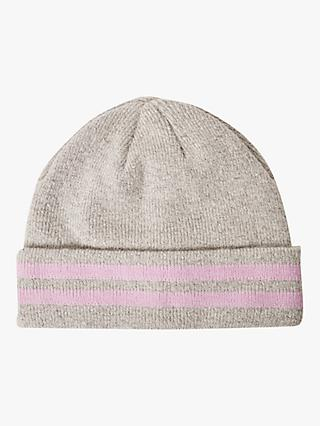 French Connection Sport Stripe Knitted Beanie, Grey/Lavender