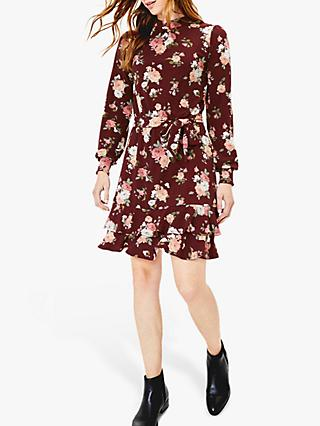 Oasis Erin Rose Mini Dress, Burgundy