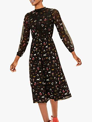 Oasis Fauna Floral Midi Dress, Black/Multi