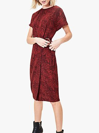 Oasis Snake Wiggle Dress, Berry