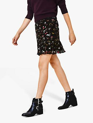 Oasis Millie Floral Mesh Mini Skirt, Black/Multi